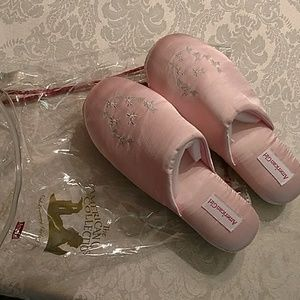 American Girl Shoes - American Girl pink satin XL girl's slippers NWOT